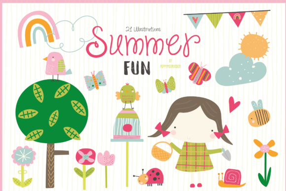 Print on Demand: Summer Fun Clipart Graphic Illustrations By poppymoondesign