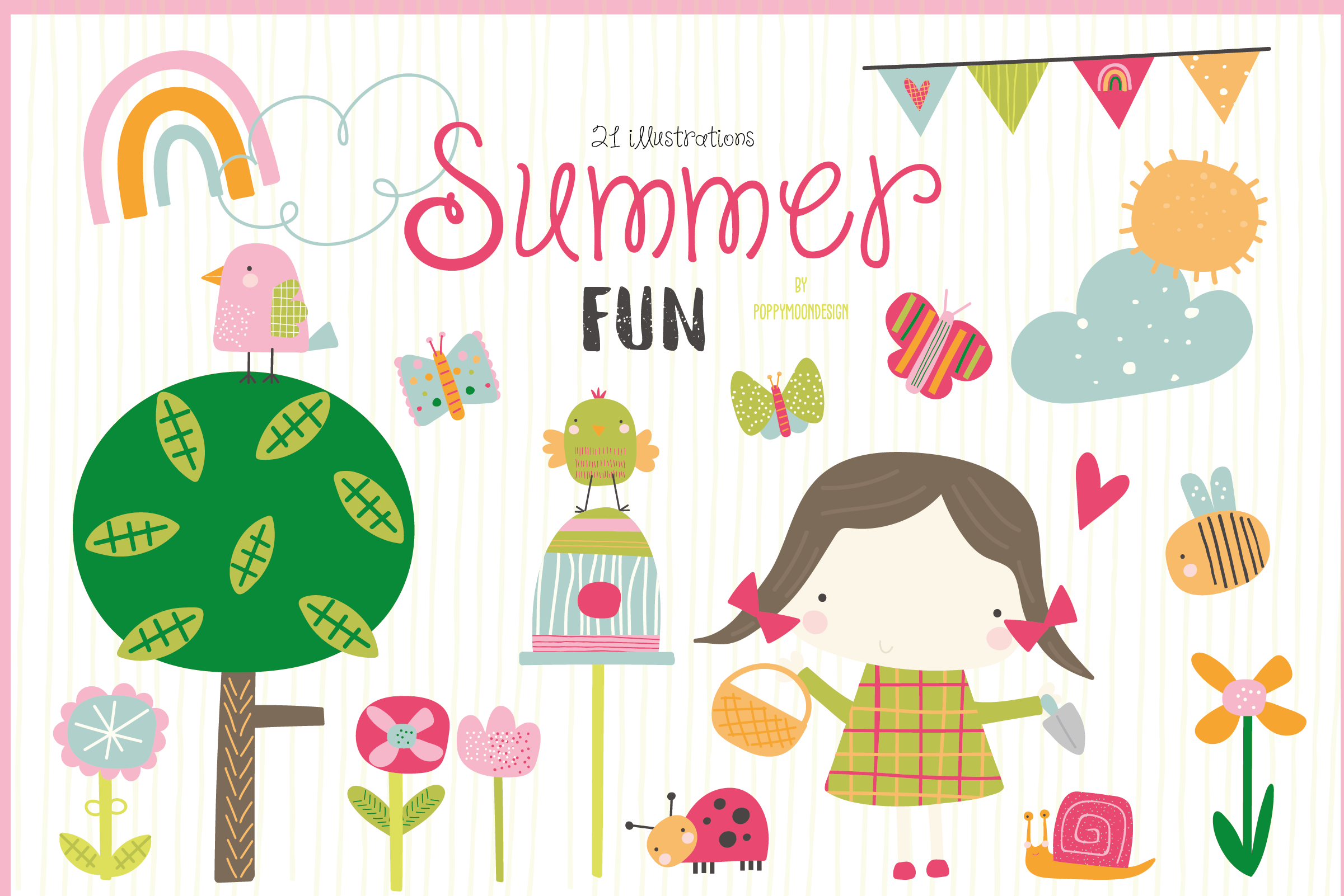 Download Free Summer Fun Clipart Graphic By Poppymoondesign Creative Fabrica for Cricut Explore, Silhouette and other cutting machines.