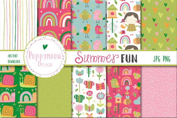 Print on Demand: Summer Fun Papers Grafik Muster von poppymoondesign