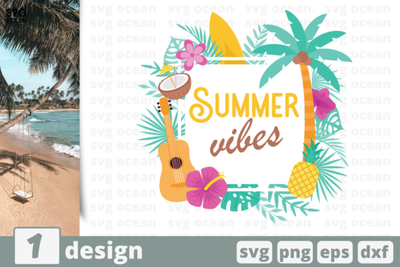 Download Free Summer Vibes Graphic By Svgocean Creative Fabrica for Cricut Explore, Silhouette and other cutting machines.