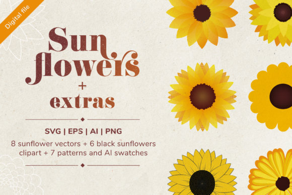 Download Free Sunflower Set Graphic By Simply Swapnil Creative Fabrica for Cricut Explore, Silhouette and other cutting machines.