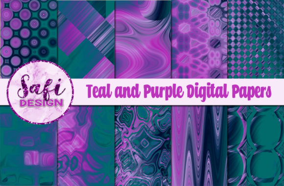 Download Free Teal And Purple Digital Papers Graphic By Safi Designs for Cricut Explore, Silhouette and other cutting machines.