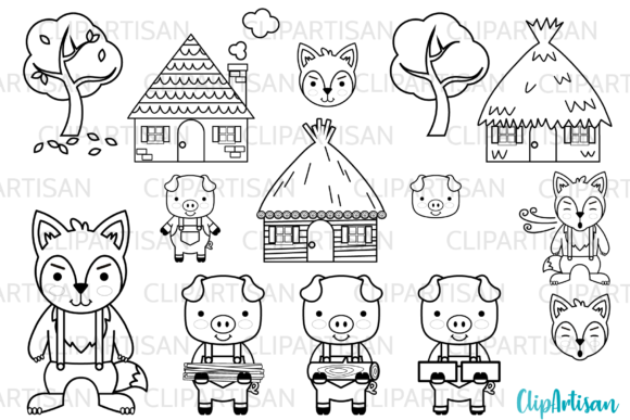 Three Little Pigs Fairy Tale Clip Art Graphic Illustrations By ClipArtisan