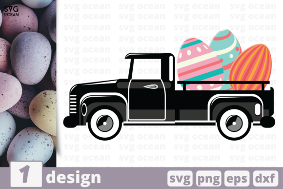 Download Free Truck Easter Graphic By Svgocean Creative Fabrica for Cricut Explore, Silhouette and other cutting machines.