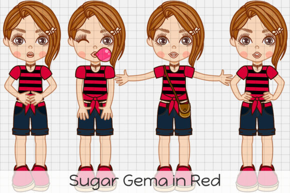 Print on Demand: VM Sugar Gema in Red Graphic Illustrations By Dolls To Go