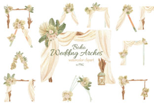Print on Demand: Watercolor Boho Wedding Arch Clipart Graphic Illustrations By s.yanyeva