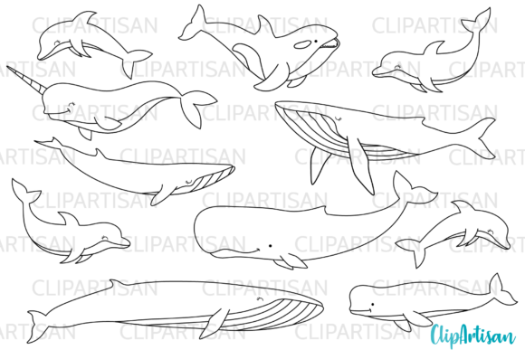 Download Free Whales And Dolphins Clip Art Graphic By Clipartisan Creative for Cricut Explore, Silhouette and other cutting machines.