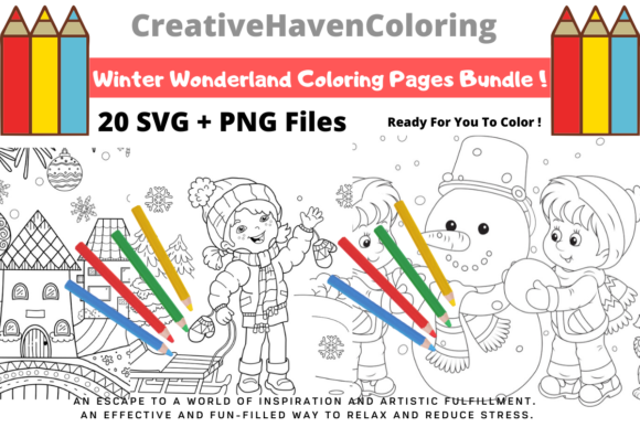 Print on Demand: Winter Wonderland Coloring Pages Bundle  By creativehavencoloring