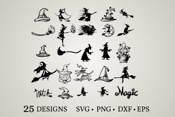 Download Free Witch Bundle Graphic By Euphoria Design Creative Fabrica for Cricut Explore, Silhouette and other cutting machines.