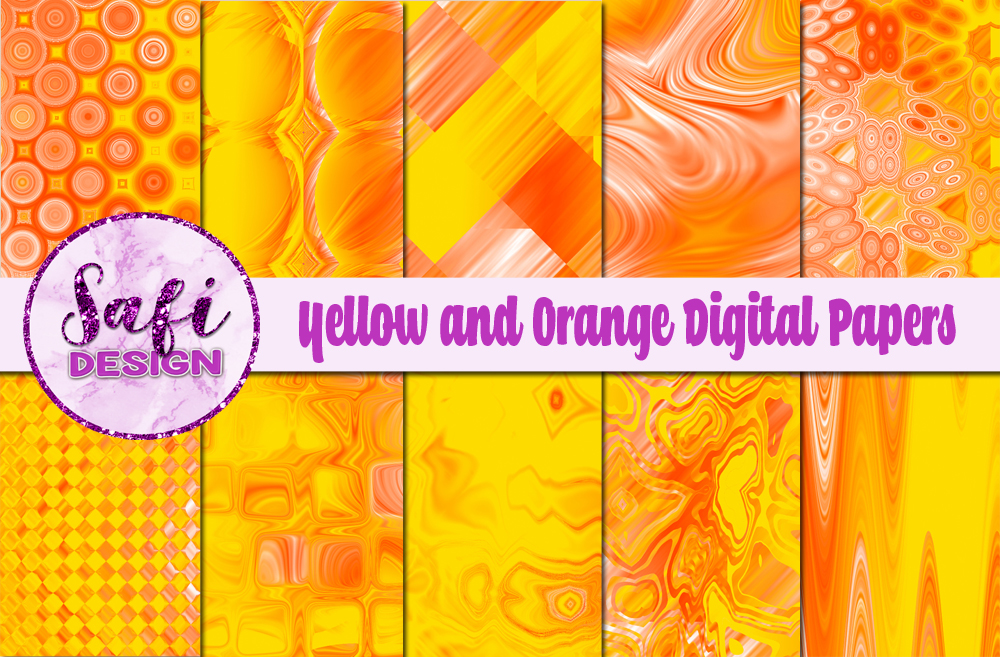Download Free Yellow And Orange Digital Papers Graphic By Safi Designs for Cricut Explore, Silhouette and other cutting machines.
