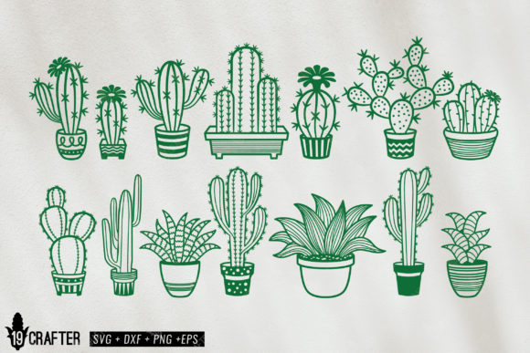 Download Free Cute Cacti Cactus And Succulent Svg Pack Graphic By Great19 for Cricut Explore, Silhouette and other cutting machines.