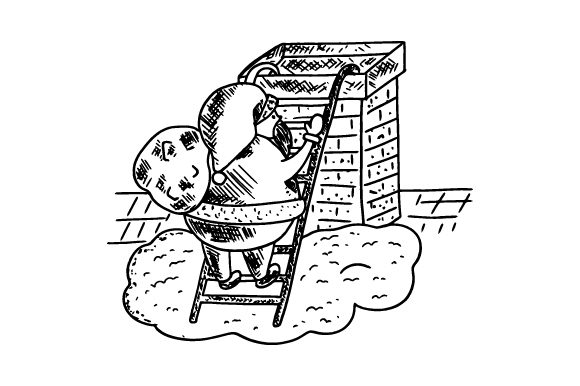 Santa Climbing Ladder Up to Chimney Christmas Craft Cut File By Creative Fabrica Crafts - Image 1