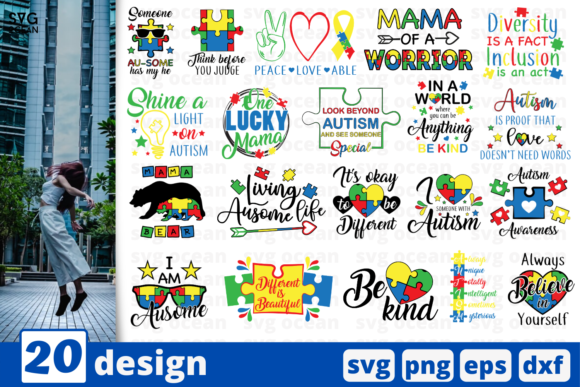 Download Free 20 Designs Autism Quotes Bundle Graphic By Svgocean Creative for Cricut Explore, Silhouette and other cutting machines.