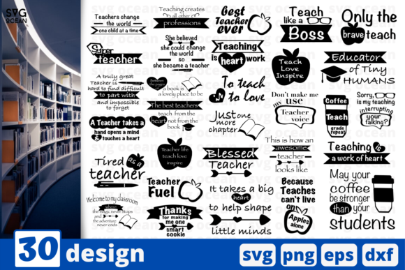 Print on Demand: 30 Designs Teacher Quotes   Graphic Crafts By SvgOcean