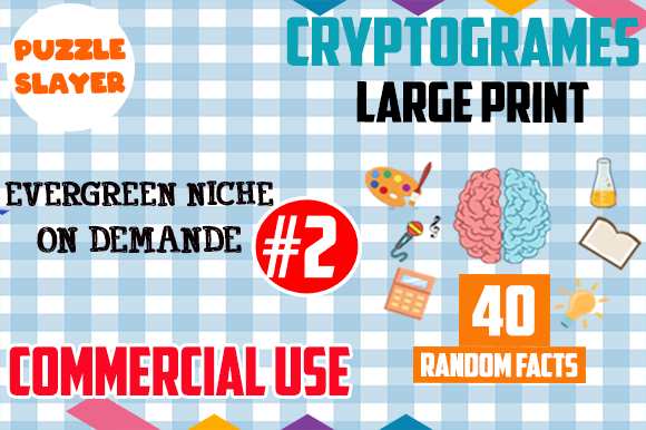 40 Cryptograms for KDP Activity Books #2 Graphic KDP Interiors By PuzzleSlayer