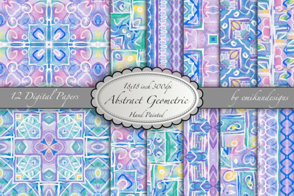 Abstract Geometric Digital Paper Pattern Graphic Patterns By emikundesigns