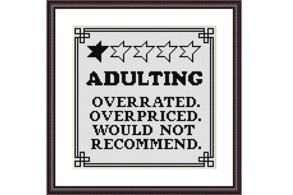 Adulting Funny Birthday Cross Stitch Graphic Cross Stitch Patterns By e6702