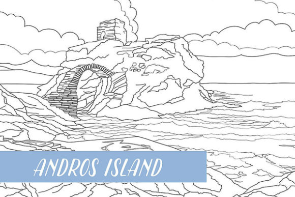 Andros Island Greece Coloring Page Graphic Coloring Pages & Books Adults By k.xirouchaki