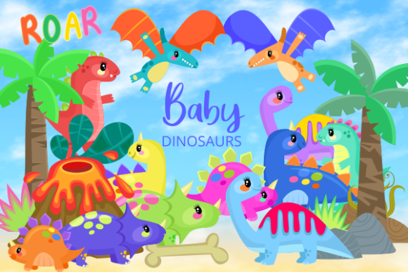 Print on Demand: Baby Dinosaurs Cute Cartoon Reptiles Graphic Illustrations By Prawny - Image 1