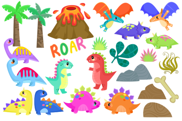 Print on Demand: Baby Dinosaurs Cute Cartoon Reptiles Graphic Illustrations By Prawny - Image 2