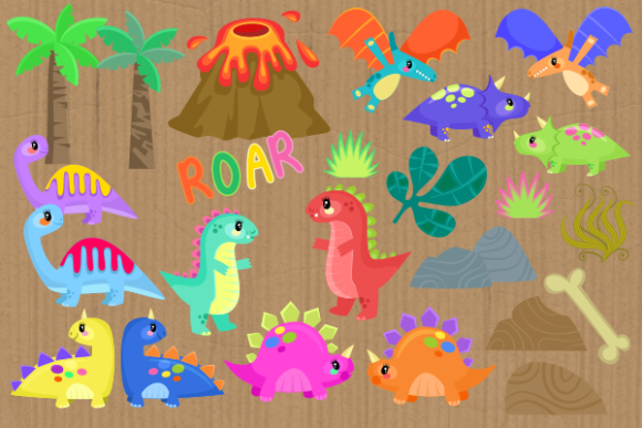 Print on Demand: Baby Dinosaurs Cute Cartoon Reptiles Graphic Illustrations By Prawny - Image 3
