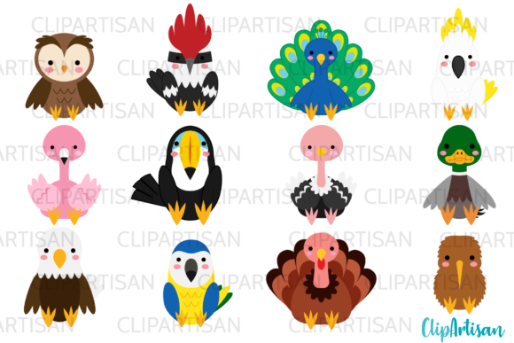 Birds Clip Art, Tropical Birds Graphic Illustrations By ClipArtisan