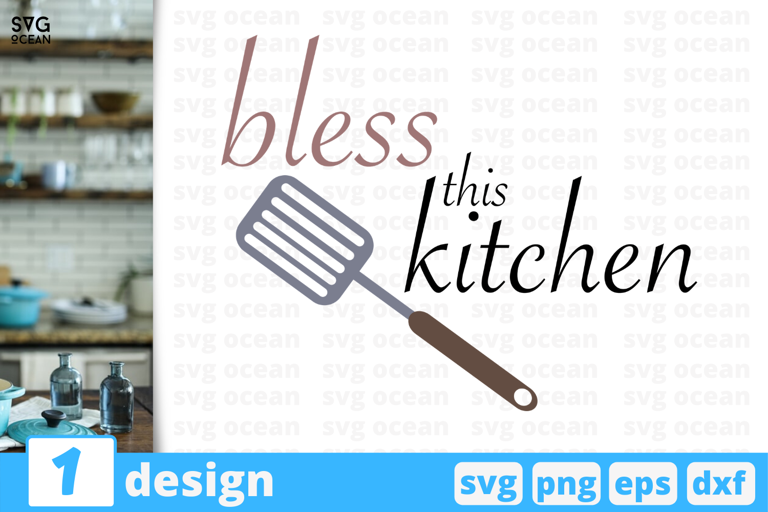 Download Free Bless This Kitchen Graphic By Svgocean Creative Fabrica for Cricut Explore, Silhouette and other cutting machines.