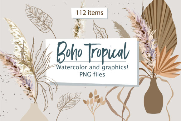 Boho Tropical Watercolor Floral Clipart Graphic Illustrations By lena-dorosh