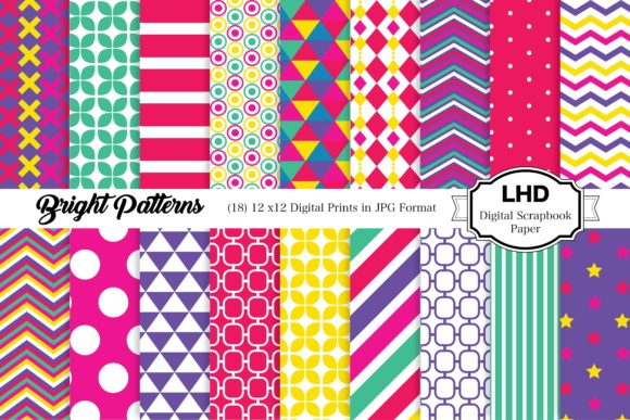 Bright Patterns - Digital Papers Graphic Patterns By LeskaHamatyDesign
