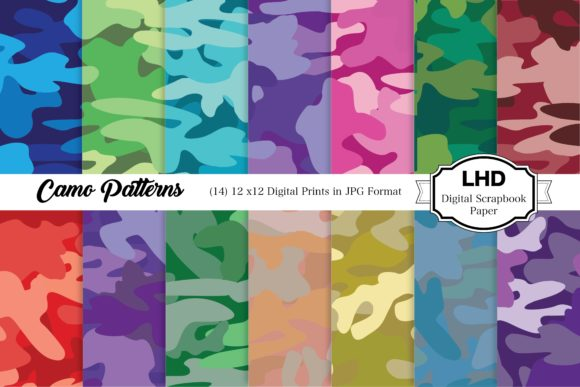 Camo Patterns - Digital Paper Pack Graphic Patterns By LeskaHamatyDesign