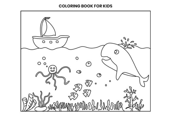 Download Free Coloring Book Page For Kids Underwater Graphic By Doridodesign for Cricut Explore, Silhouette and other cutting machines.