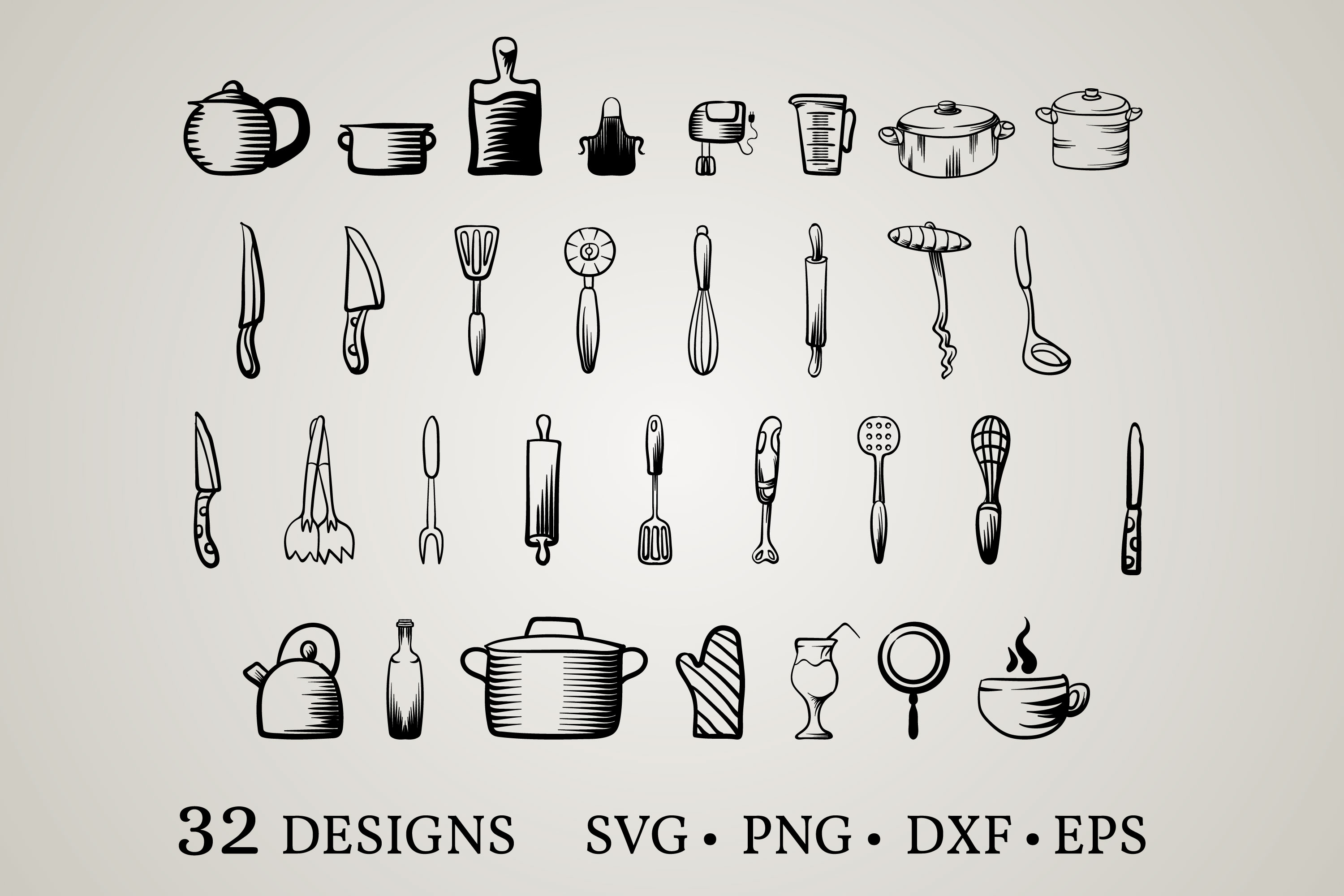 Download Free Cooking Utensils Bundle Graphic By Euphoria Design Creative Fabrica for Cricut Explore, Silhouette and other cutting machines.