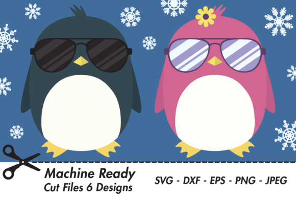 Print on Demand: Cool Penguins with Shades and Snowflakes Graphic Crafts By CaptainCreative