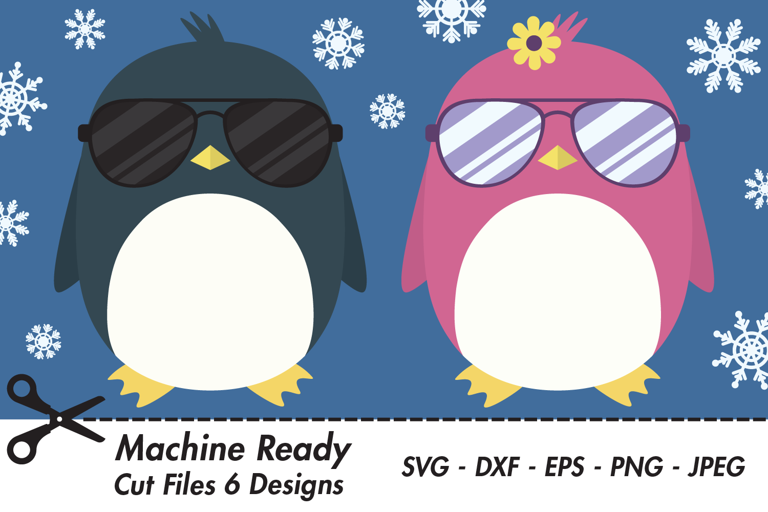 Download Free Cool Penguins With Shades And Snowflakes Graphic By for Cricut Explore, Silhouette and other cutting machines.