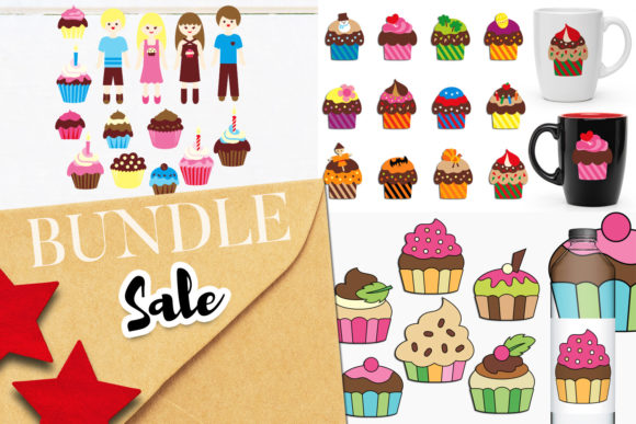 Print on Demand: Cupcakes Party Bundle Graphic Illustrations By Revidevi