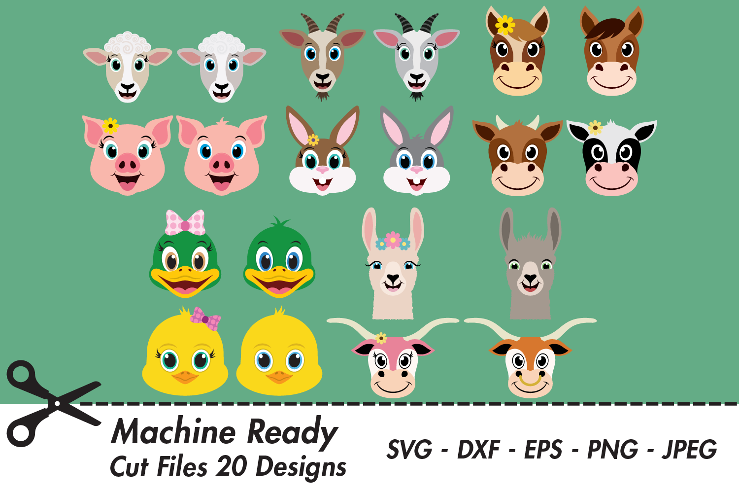 Download Free Cute Barnyard Animal Face Bundle Graphic By Captaincreative for Cricut Explore, Silhouette and other cutting machines.