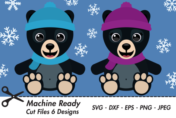 Download Free Cute Black Bears With Snowflakes Graphic By Captaincreative for Cricut Explore, Silhouette and other cutting machines.