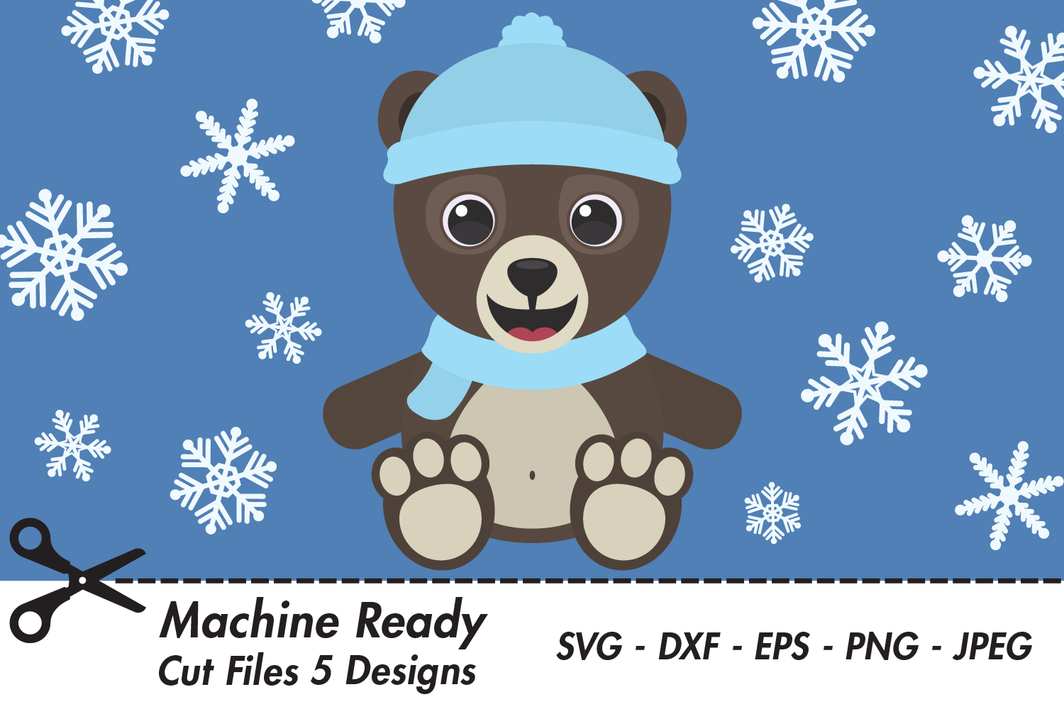 Download Free Cute Boy Grizzly Bear With Snowflakes Graphic By Captaincreative for Cricut Explore, Silhouette and other cutting machines.