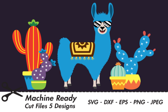 Download Free Cute Boy Llama With Shades And Cacti Graphic By Captaincreative for Cricut Explore, Silhouette and other cutting machines.