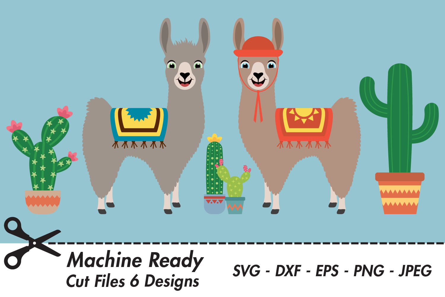 Download Free Cute Boy Llamas With Cacti Graphic By Captaincreative Creative Fabrica for Cricut Explore, Silhouette and other cutting machines.