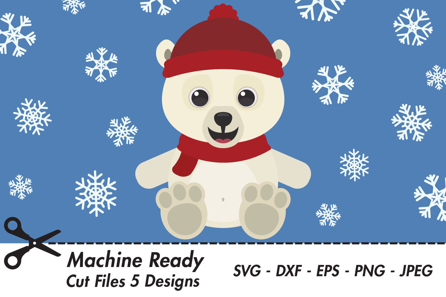 Download Free Cute Boy Polar Bear With Snowflakes Graphic By Captaincreative SVG Cut Files