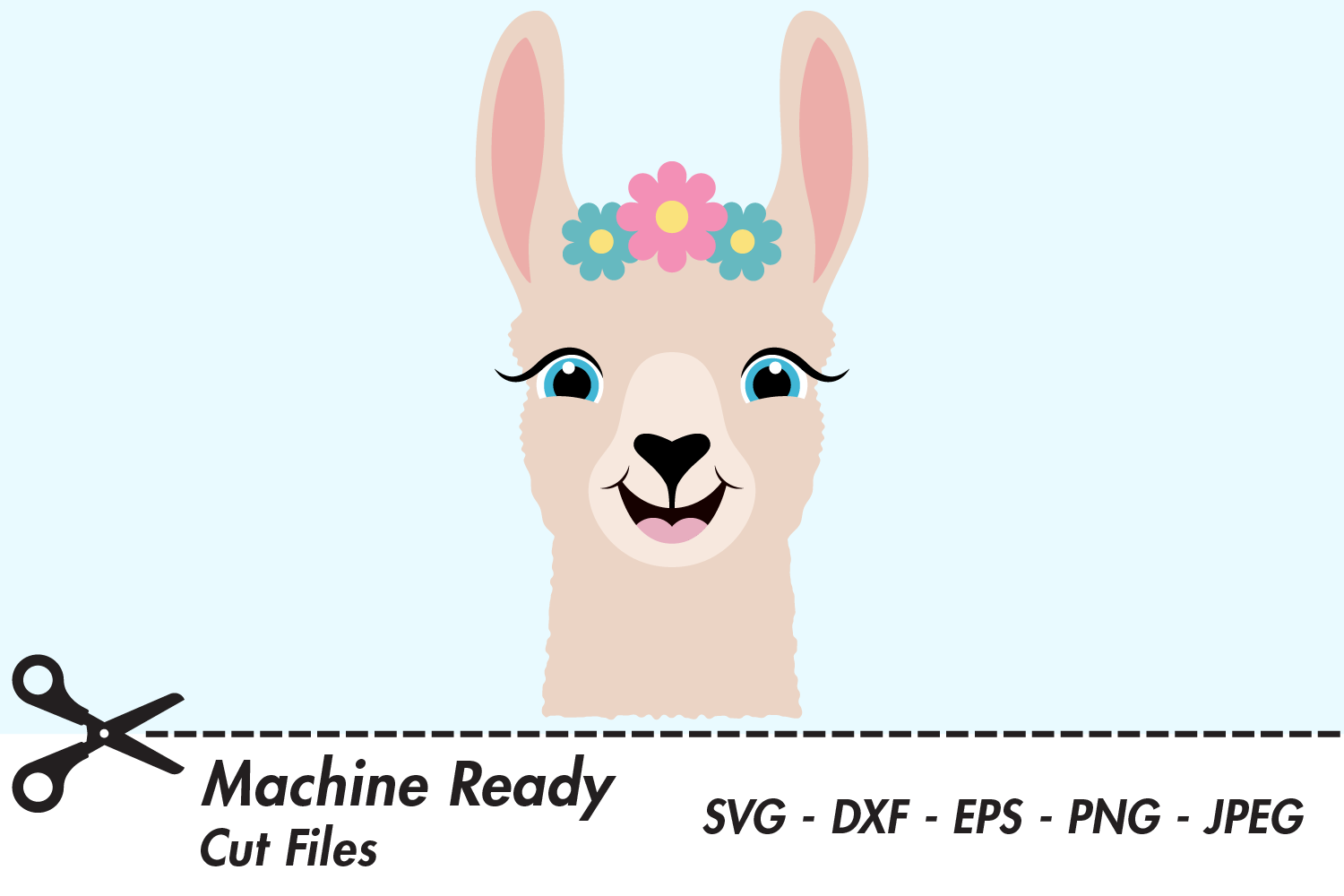 Download Free Cute Girl Llama Face Graphic By Captaincreative Creative Fabrica for Cricut Explore, Silhouette and other cutting machines.
