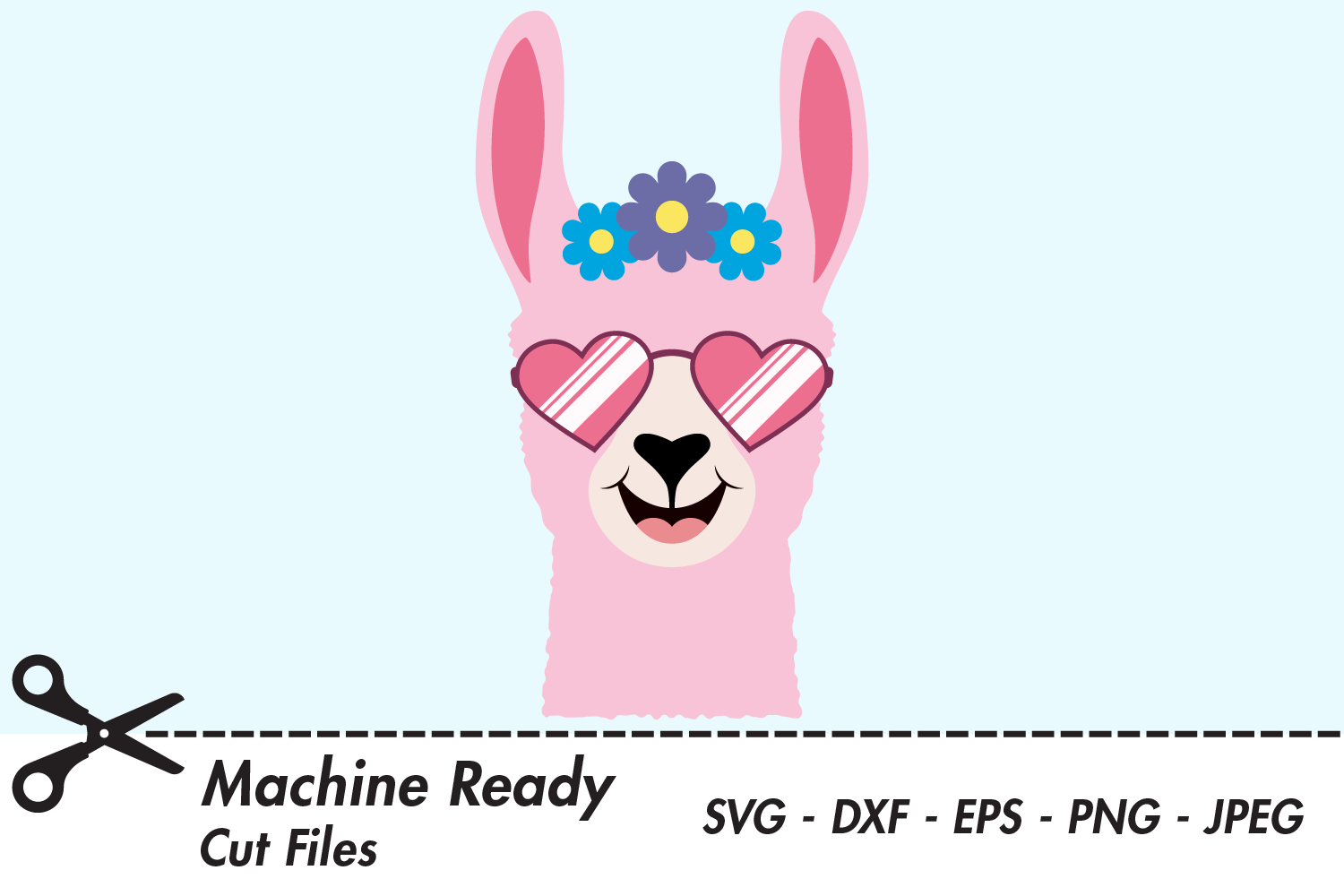 Download Free Cute Girl Llama Face With Shades Graphic By Captaincreative for Cricut Explore, Silhouette and other cutting machines.