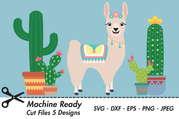 Download Free Cute Girl Llama With Cacti Graphic By Captaincreative Creative for Cricut Explore, Silhouette and other cutting machines.