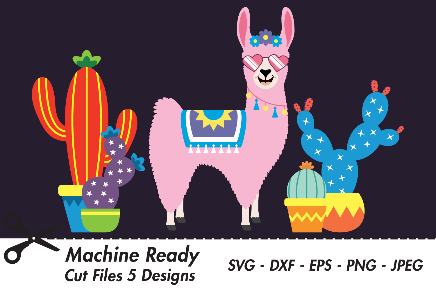 Download Free Cute Girl Llama With Shades And Cacti Graphic By Captaincreative for Cricut Explore, Silhouette and other cutting machines.