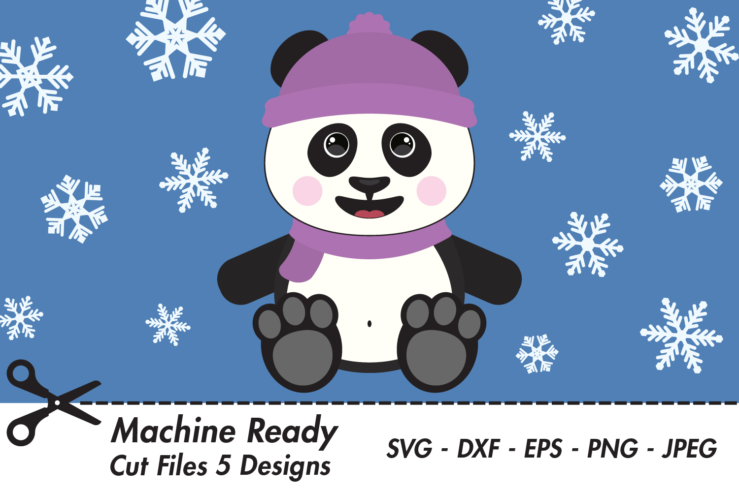 Download Free Cute Girl Panda Bear With Snowflakes Graphic By Captaincreative for Cricut Explore, Silhouette and other cutting machines.