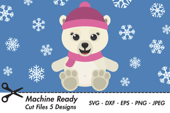 Download Free Cute Girl Polar Bear With Snowflakes Graphic By Captaincreative for Cricut Explore, Silhouette and other cutting machines.