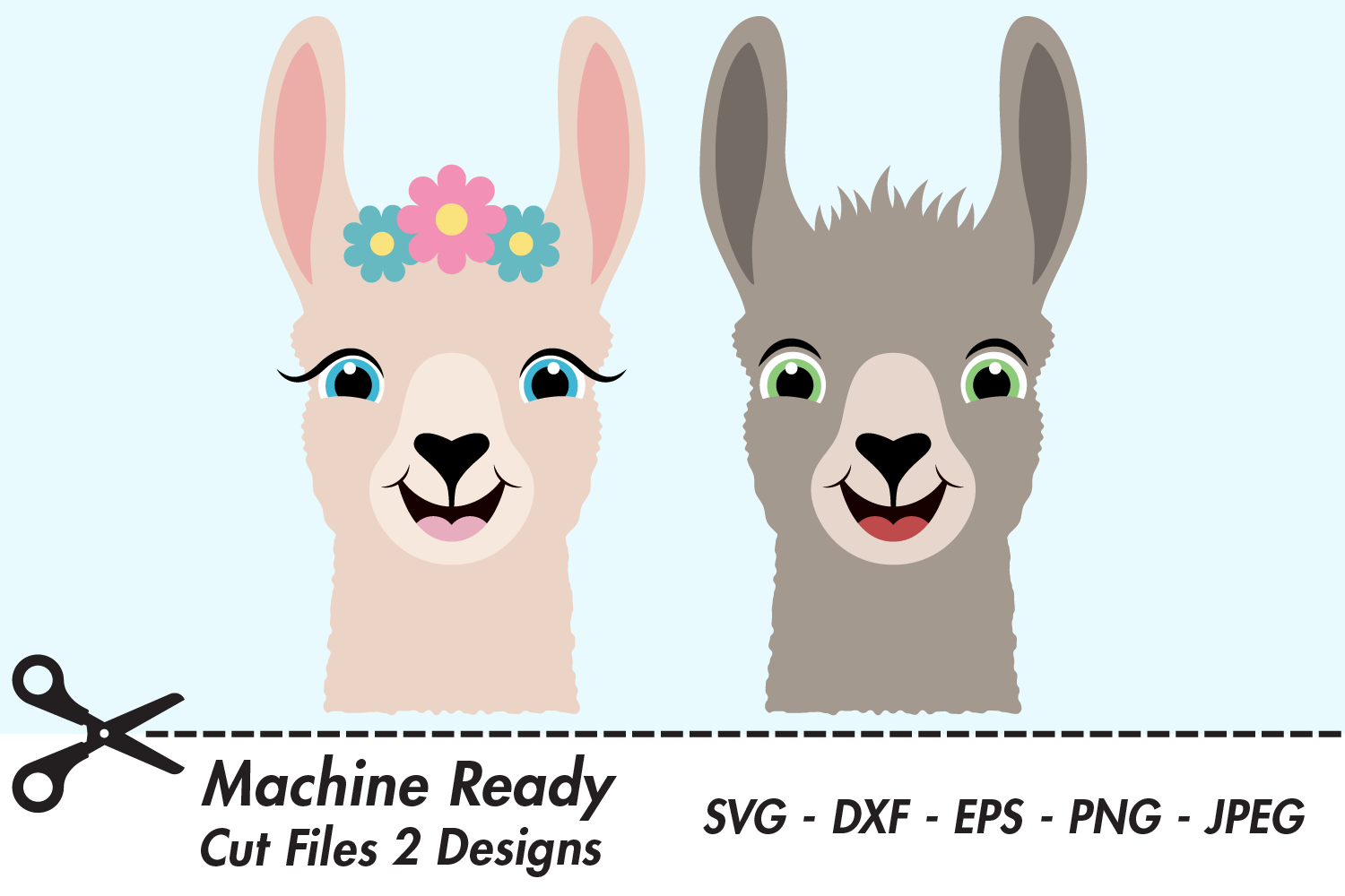 Download Free Cute Llama Faces Graphic By Captaincreative Creative Fabrica for Cricut Explore, Silhouette and other cutting machines.