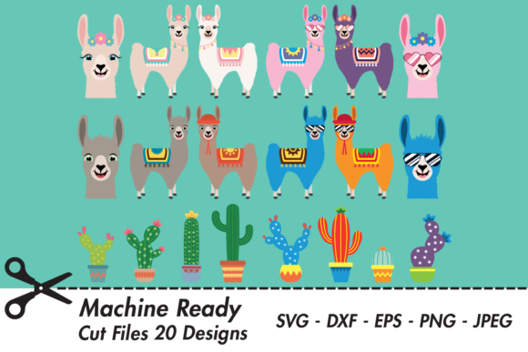 Download Free Cute Llama And Cacti Bundle Graphic By Captaincreative for Cricut Explore, Silhouette and other cutting machines.