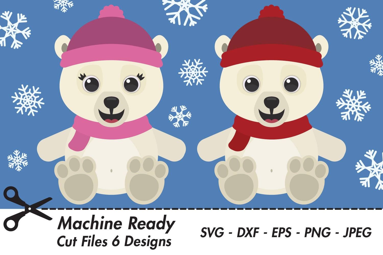 Download Free Cute Polar Bears With Snowflakes Graphic By Captaincreative for Cricut Explore, Silhouette and other cutting machines.